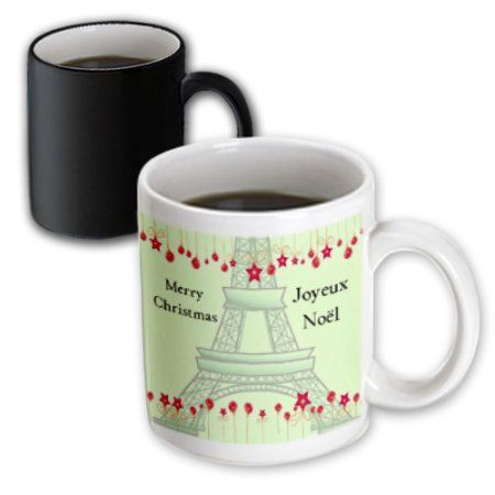 3dRose Joyeux Noel - Merry Christmas in French - Eiffel Tower, Magic Transforming Mug, 11oz