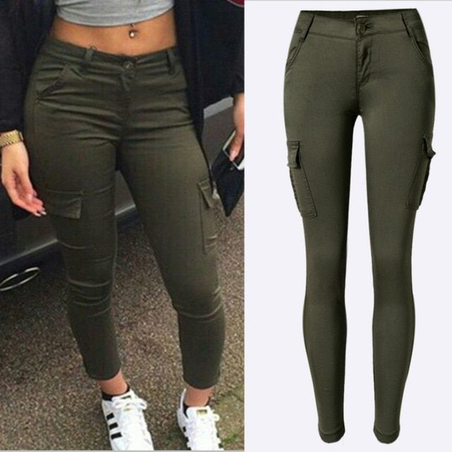 2019 New Army Green Pockets Trousers Women Fashion Cotton Safari Style High Elastic Skinny Jeans Mujer Low Wai Army Green Jeans Womens Jeans Skinny Women Jeans