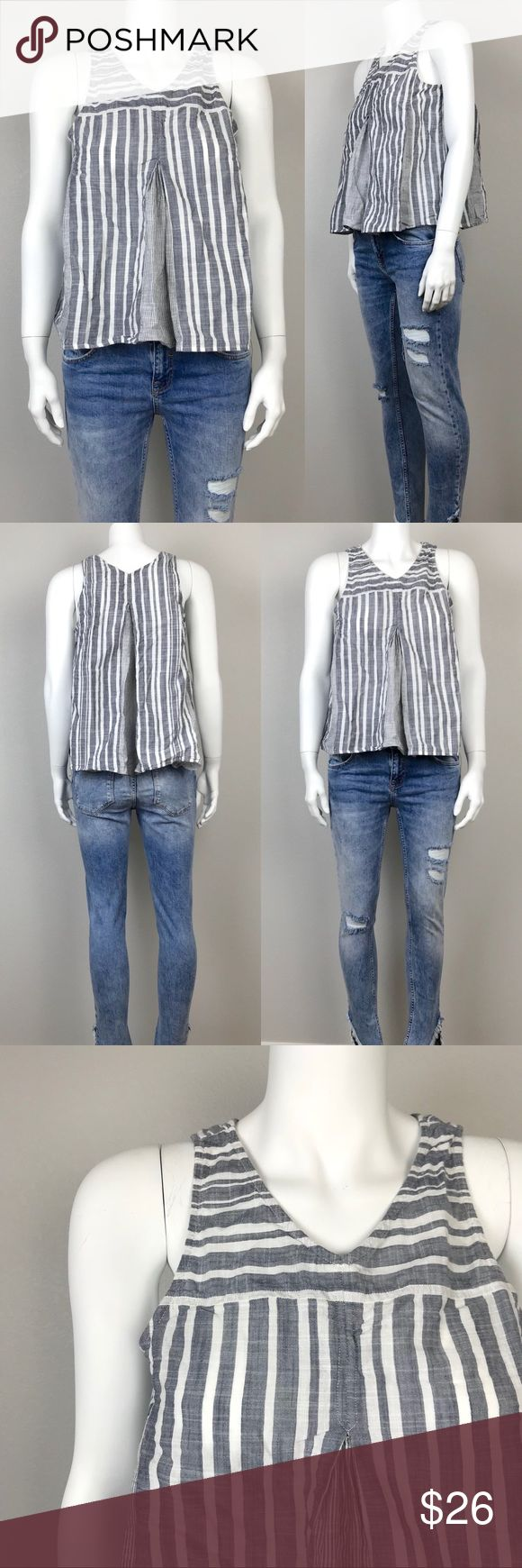 """Madewell Striped Sleeveless Tunic Top Madewell Striped Sleeveless Tunic Top.  White and grey striped print.  Size 6. Dimension (approximate): bust 36"""", length 21"""".  100% cotton. In good condition.  A stitch of the brand label has come off but the label is still attached to the garment..  #M027-11147 Follow us on Instagram @reshopofficial for promotion and discount. Madewell Tops"""