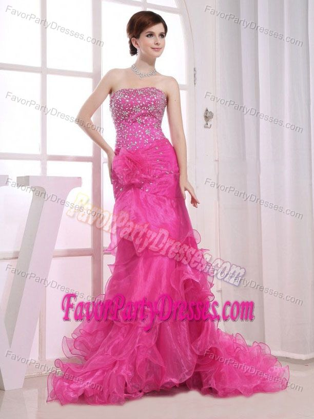 Customized Ruffled Sweep Train Beading Organza Party Dress in Hot Pink