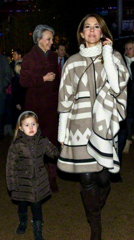 anythingandeverythingroyals:  Crown Princess Mary with Princess Josephine (and Princess Benedikte in the background) at the Nutcracker ballet, Tivoli Gardens, December 26, 2015