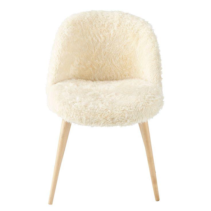 Chaise vintage fausse fourrure et bouleau massif ivoire Mauricette