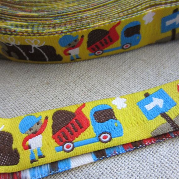 "Embroidered Trim. 3m (3.2yds). Dump Truck, Construction. Boys Pacifier clip ribbon. 16mm 5/8"" wide. AUD 2.60 Worldwide Post!"