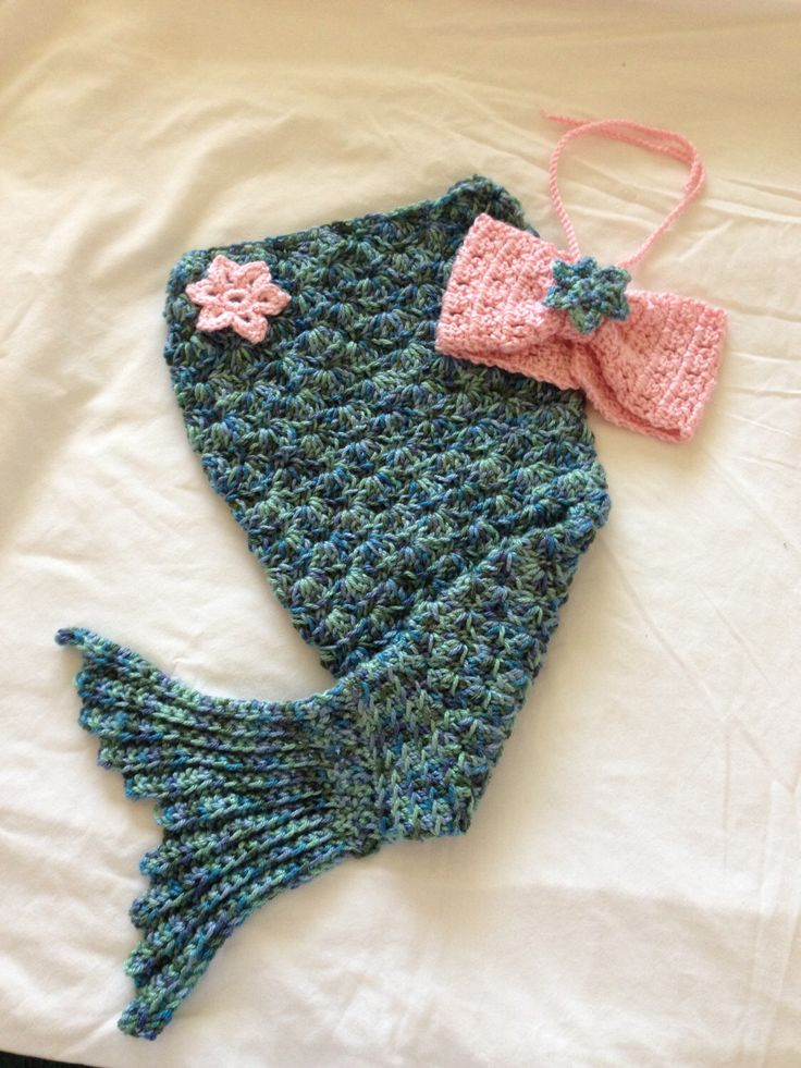Crocheted Mermaid Outfit by TreasuresByTerrie on Etsy https://www.etsy.com/listing/200566844/crocheted-mermaid-outfit