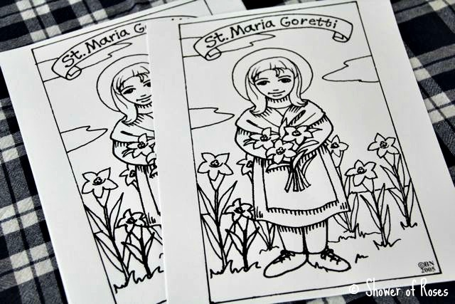 St.Maria Goretti coloring page and notebook page
