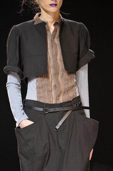 Yohji Yamamoto at Paris Fashion Week Spring 2012 - StyleBistro love the contrasting fabric pin tucking