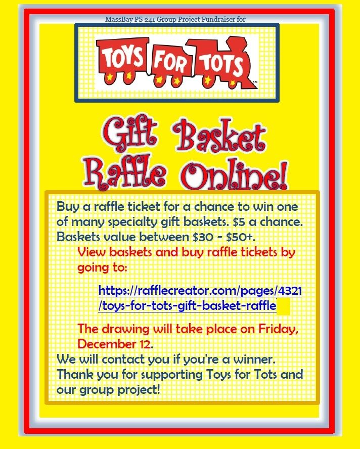 Toys For Tots Raffle : Buy a raffle ticket for chance to win one of many