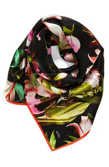Echo 'Tropical Flower' Square Silk Scarf | Nordstrom