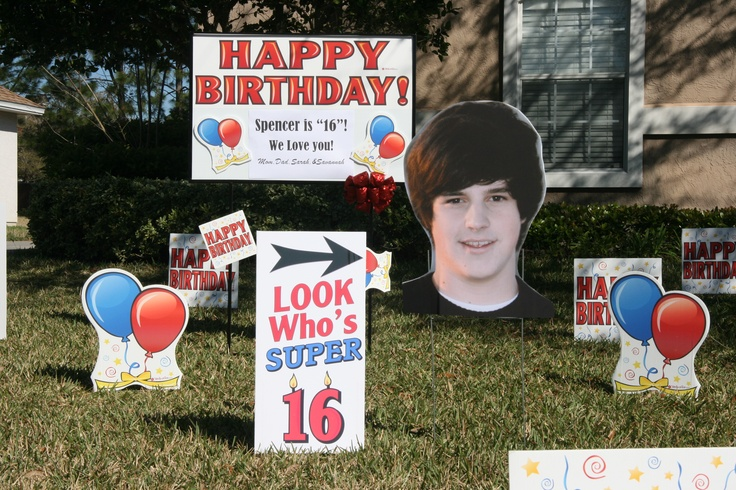 Boy 16th Birthday Idea #Idea #Boy #16 I think that Jordan would DIE of embarrassment if he came home from school to this today LOL! Its a bit much