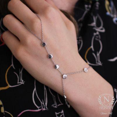 925 Ayar Gümüş Taşsız Yuvarlak Parçalı Şahmeran, Beyaz