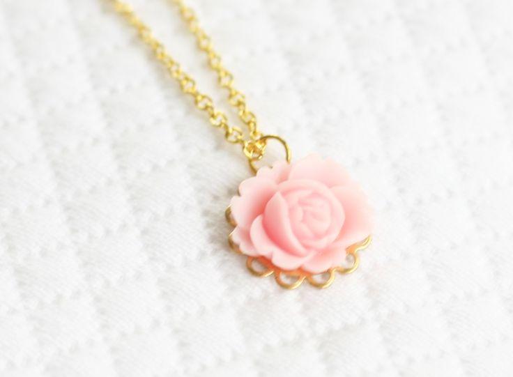 Girls Pink Rose Necklace, Girls Flower Necklace, Resin Flower Necklace, Rose Cabochon Necklace by SweetAuburnStudioKid on Etsy https://www.etsy.com/listing/208660970/girls-pink-rose-necklace-girls-flower
