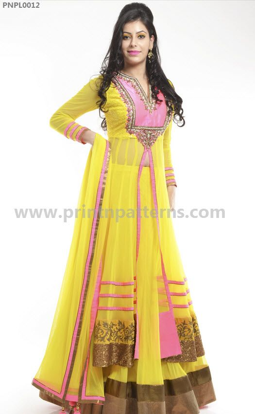 Sunny yellow and baby pink lehanga with lovely border and hand work!!