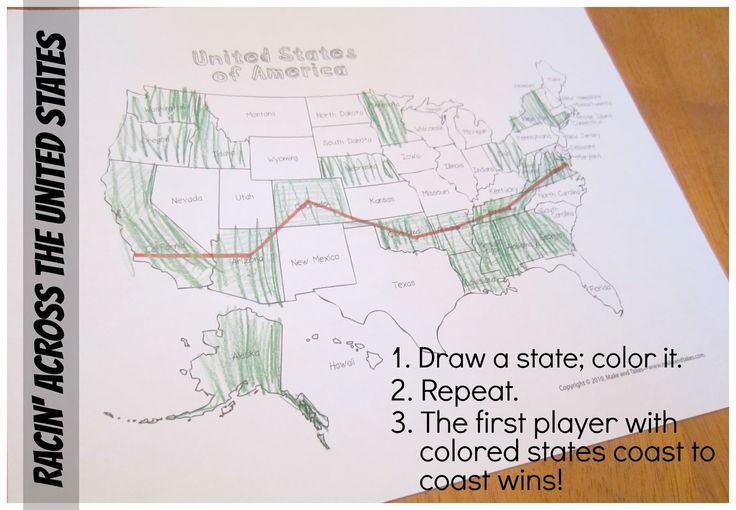 Jeu géographique : tirez au sort un Etat américain, coloriez-le, le premier qui a réussi à tracer un itinéraire d'une côte à l'autre a gagné ! (transposable à l'Europe, l'Asie, etc)
