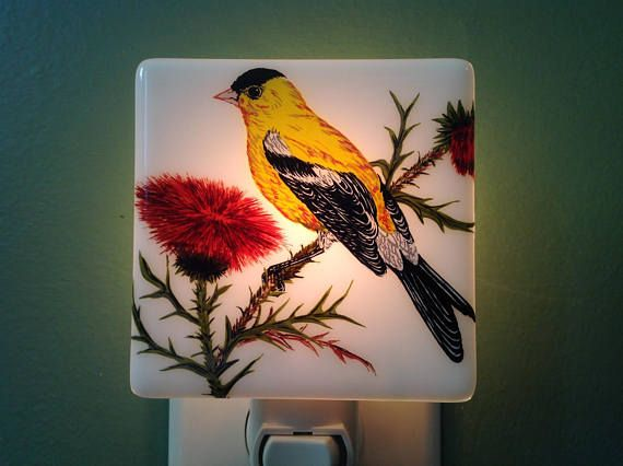 GoldFinch Bathroom Fused Glass Yellow Night Light Fused