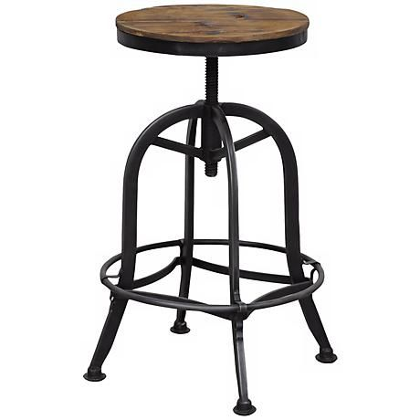 Adjust the height of this reclaimed wood backless bar stool from dining table to bar height for easy function and utility.
