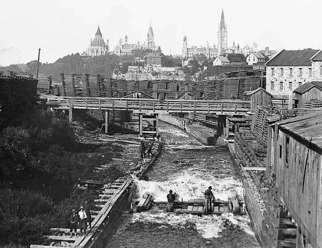 Timber Slide at Chaudiere Falls late 1800's, Ottawa.