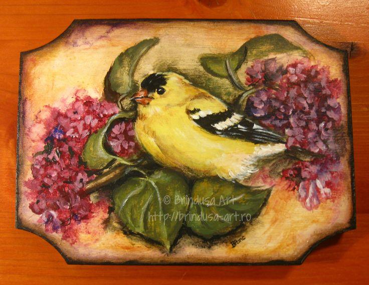 American Goldfinch on lilac branch in bloom… Acrylic painting on wood. One of a kind, available. :-) Cintezoi auriu american pe o creangă de liliac înflorit… Pictură pe lemn, în culori acrilice. Unicat. Disponibilă. :-)  #woodpainting #bird #goldfinch #pasare #lilac #liliac #spring #primavara #gift #cadou #oneofakind #unicat #cheerful #acrylic #acrilice #BrindusaArt #handmade #art