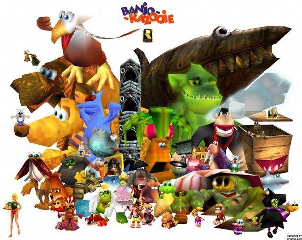 The Cast Of Banjo Kazooie Banjokazooie Banjo Kazooie Video Game Fan Art Banjo