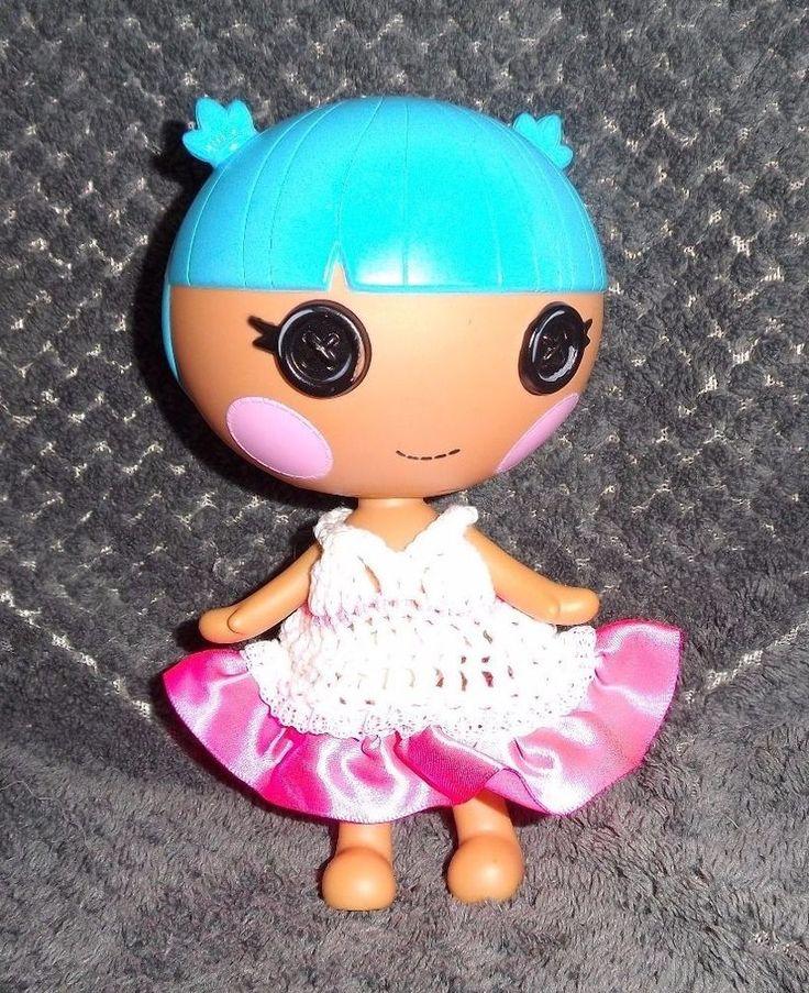 LalaLoopsy Little sister's white CROCHET DRESS WITH hot pink ribbon skirt