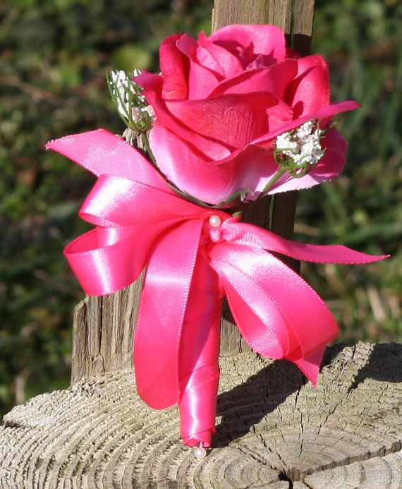 Hot Pink Rose Corsage by SilkFlowersByJean on Etsy, $10.00