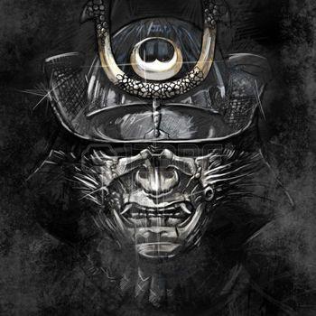 samourai: illustrations d'un masque samouraï japonais de guerrier Banque d