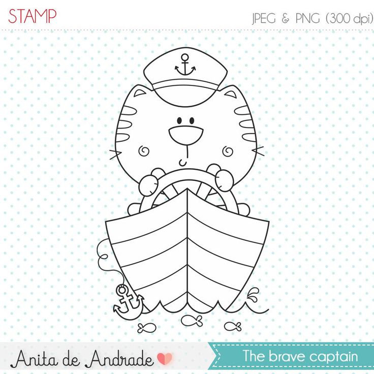 Ships Captain Sailor Cat Stamp
