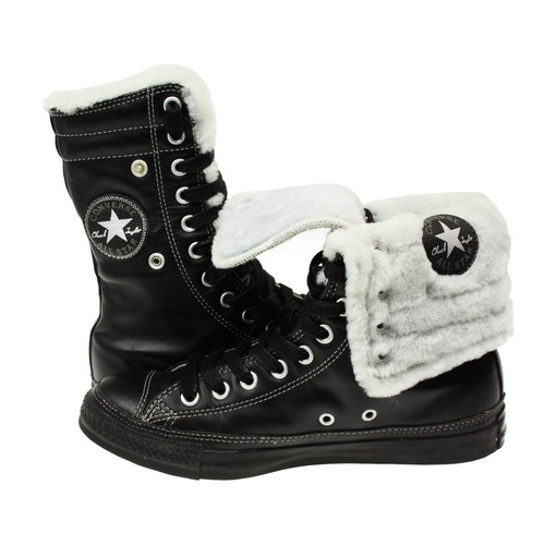43f93379c15bc5 Unisex converse allstar chuck taylor 115581 leather knee hi fur xhi boots  black in 2019