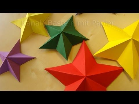video demo: five point paper star ... no measuring ... start with a square ... watch carefully ... no talking .... Sterne basteln - Weihnachtssterne falten - Weihnachtsbasteln