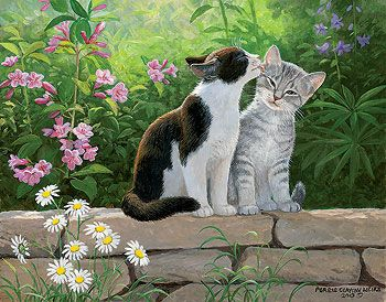 Garden Secret - Cats Painting by Persis Clayton Weirs