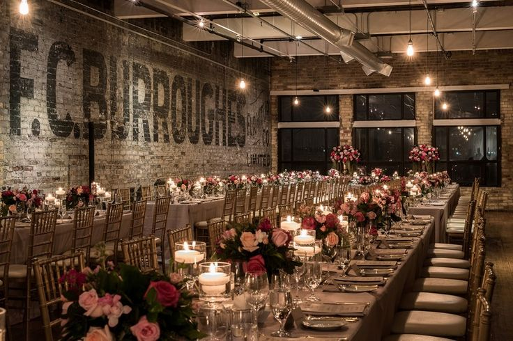 March 2016   Toronto ON   www.kjandco.ca   KJ and Co. planning, coordination and design at Becky & Jamie's The Burroughes Building wedding in Toronto   Photo by Vuaghn Barry loft wedding reception   champagne table linens, gold chiavari chairs, long banquet style tables, vibrant pink flowers by Rachel Clingen