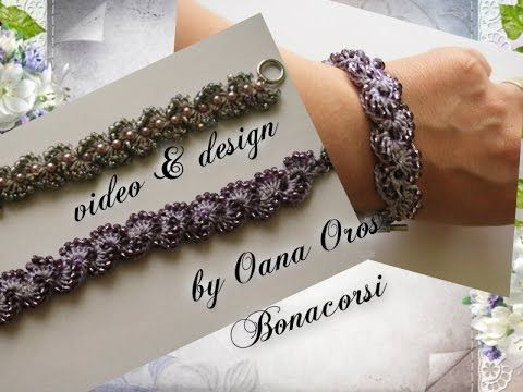 crochet bracelet with beads - YouTube