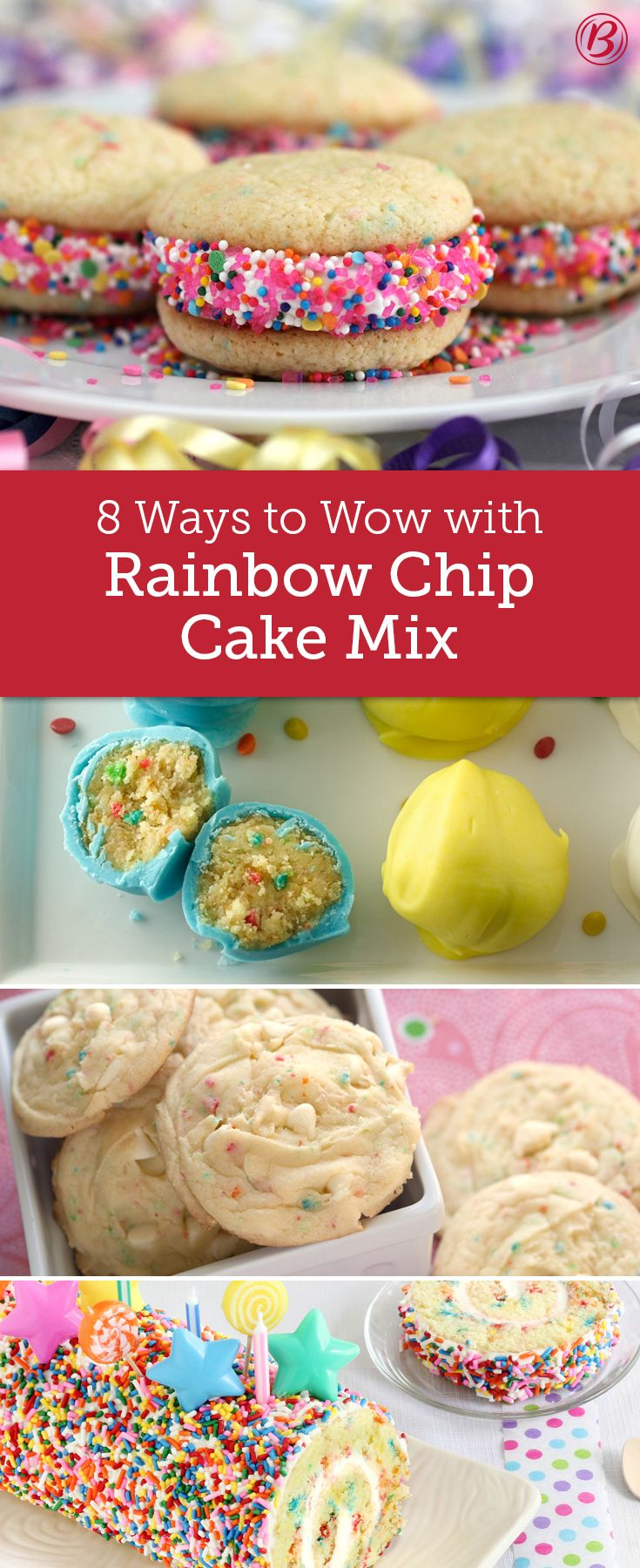 Rainbow Chip Cake Mix Blondies
