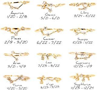 0adcb332f7 Choice by Choi Zodiac Constellation Ring with Cubic Zirconia Stones Made of  Zinc, Steel, Brass (Aquarius & Gold)|Amazon.com