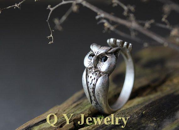 Vintage zilveren boho chic brass knuckle lucky uil ring hippie mid vinger punk retro dier trouwringen voor mannen vrouwen(China (Mainland))