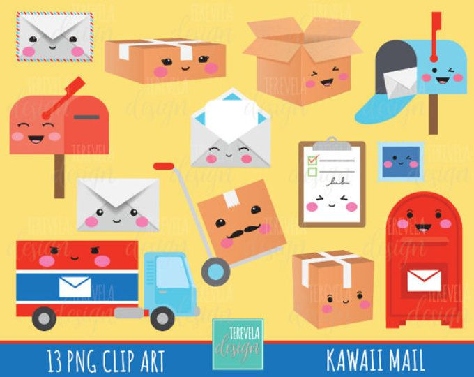 post office clipart, MAIL clipart, kawaii clipart, happy mail/delivery clipart, commercial use, package/box/planner accesories