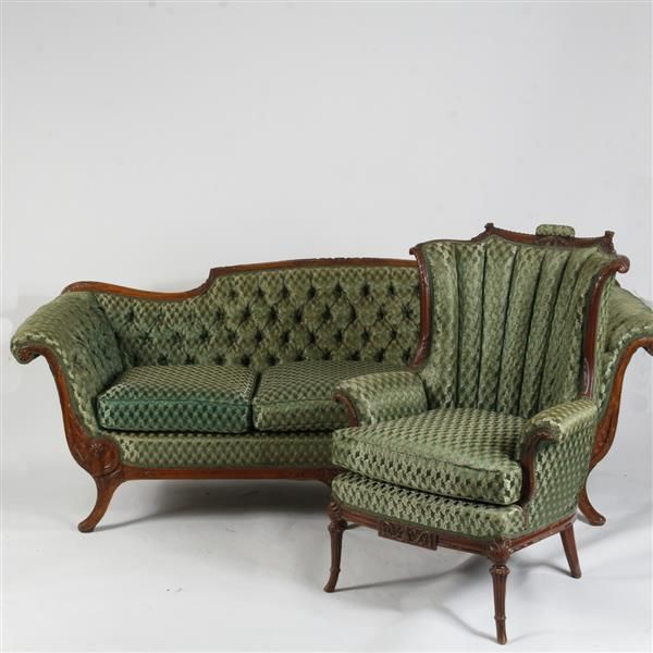 """Victorian 2pc. Scroll Arm Sofa & High Back Armchair with Carved Wooden Frame & Sage Green Tufted Upholstery 30"""" H x 89"""" W x 33"""" D"""
