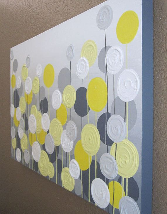 Yellow and Grey Textured Flower Art Large by MurrayDesignShop