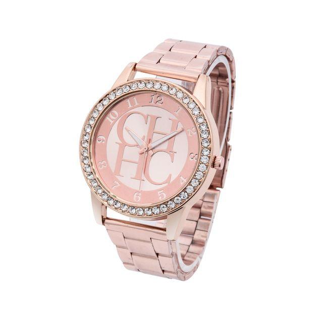 3c9e4af5830 Relojes de pulsera de diamantes de imitación de cristal informales Geneva  relojes de marca de lujo para mujer reloj de cuarzo de acero dorado para  mujer ...
