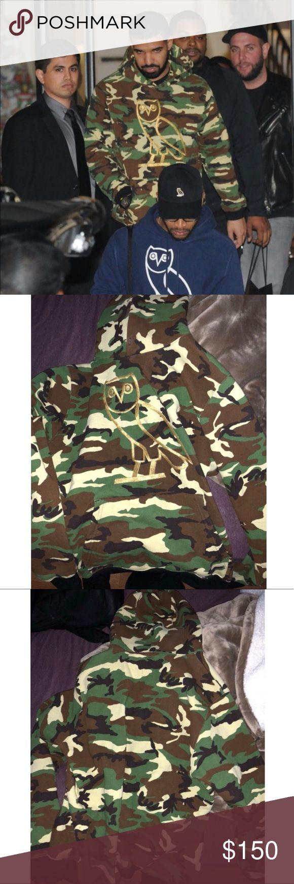 OVO CAMO SWEATER (LIMITED EDITION) If you're a drake fan and you didn't get this LIMITED EDITION hoodie then here you go. This hoodie is loud but it'll turn a bum fit into a fit that Drake would wear. This has never been used and is basically brand new. This hoodie would look iconic with Timbs, black ripped jeans and a drake hat. Willing to take other offers October's Very Own Shirts Sweatshirts & Hoodies