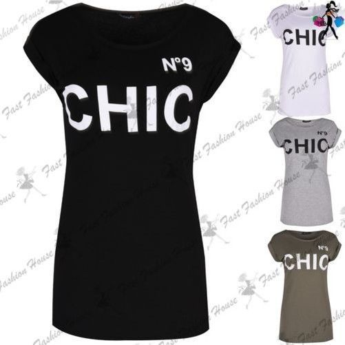 Womens Ladies No 9 Chic Print Round Neck Turn Up Sleeve Slim Fit Tee T Shirt Top