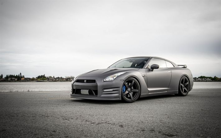 Download wallpapers nissan gt-r, Sports car, tuning gt-r, Japanese cars, matte black r35, nissan