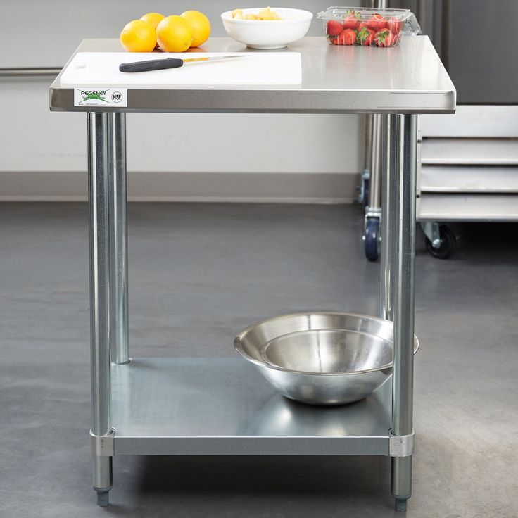 """Regency 24"""" x 30"""" 18-Gauge 304 Stainless Steel Commercial Work Table with Galvanized Legs and Undershelf"""