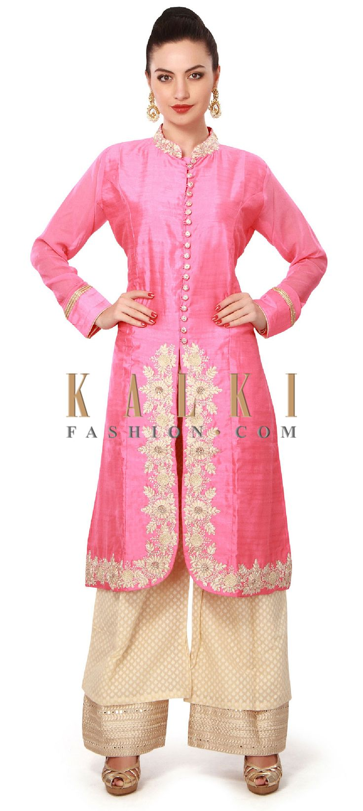 Buy Online from the link below. We ship worldwide (Free Shipping over US$100). Product SKU - 317329. Product Price - $189.00. Product Link - http://www.kalkifashion.com/pink-straight-suit-enhanced-in-resham-work-at-hem-line-only-on-kalki.html