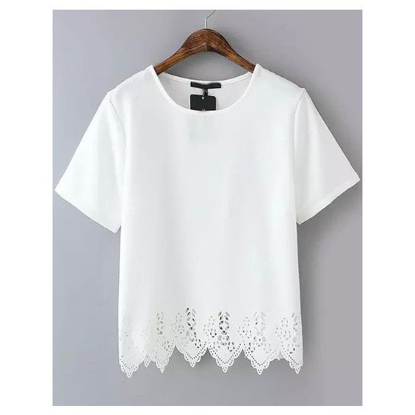 White Short Sleeve Lace Hem Chiffon T-Shirt ($13) ❤ liked on Polyvore featuring tops, t-shirts, shirts, white, short sleeve tees, chiffon t shirt, lace tee, white tops y white lace top