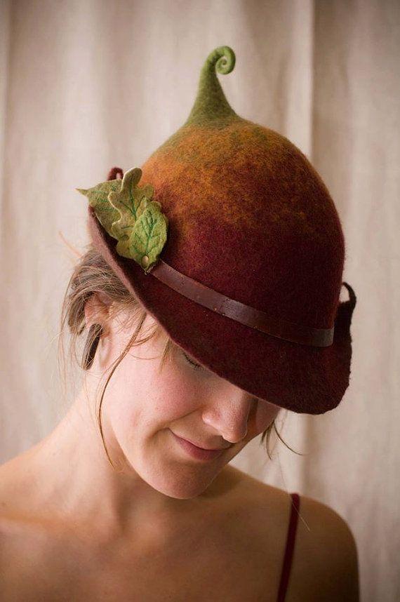 "woman's felt fairy hat ""wren"" made of merino wool by lalabugdesigns on Etsy"