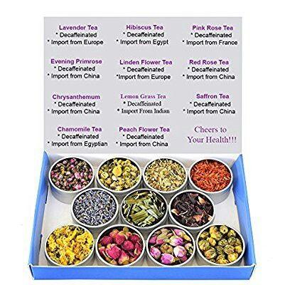 Chinese Tea Culture  Tea Sampler - Flower Tea - Decaffeinated - Herbal - Gift Box - Chrysanthemum - Linden Flower- Saffron - Hibiscus - Lavender - Chamomile - LemonGrass - Rose - Loose Tea FROM AMAZON -