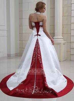 Corte de baile Cabestro Cola corte Satén Vestido de novia con Bordado Bordado Lentejuelas (002011730) - JJsHouse