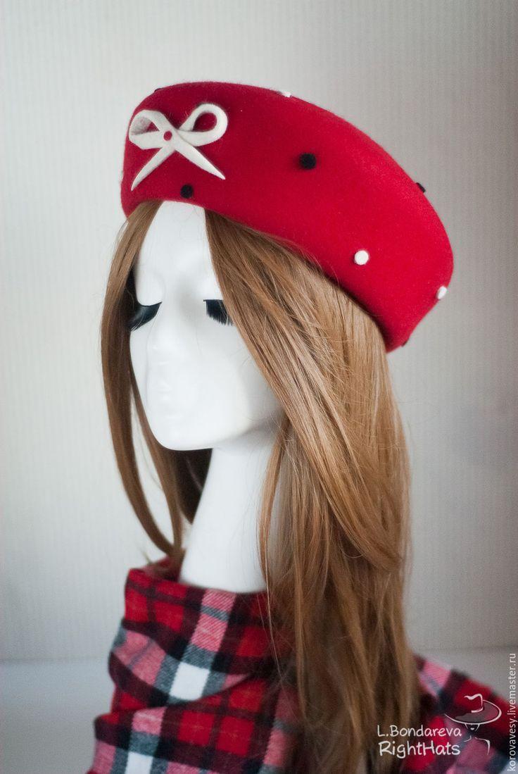 "Купить Комплект ""ПИКАДИЛЛИ"" - ярко-красный, алый, шляпка, жаклин, женская шляпка, берет, таблетка"