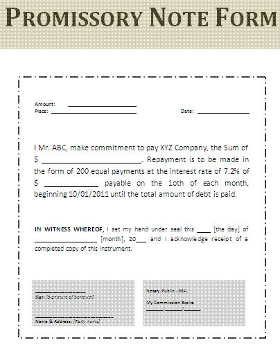 Printable Sample Simple Promissory Note Form | Real Estate Forms Word