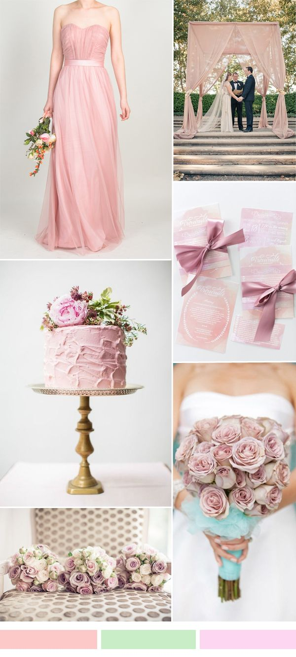 TBQP313 dusty pink wedding color ideas with dusty pink strapless tulle bridesmaid dress